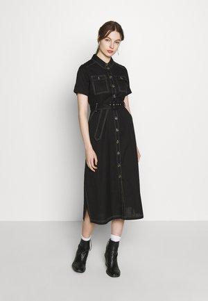 TOPSTITCH UTILITY MIDI DRESS - Shirt dress - black