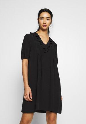 RUFFLE PINTUCK MINI DRESS - Korte jurk - black