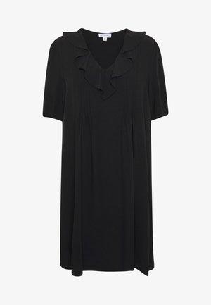 RUFFLE PINTUCK MINI DRESS - Denní šaty - black