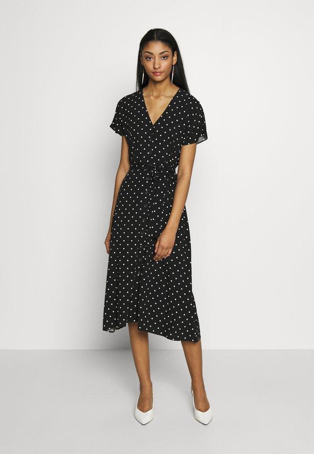 SPOT BUTTON THROUGH DRESS - Shirt dress - black print