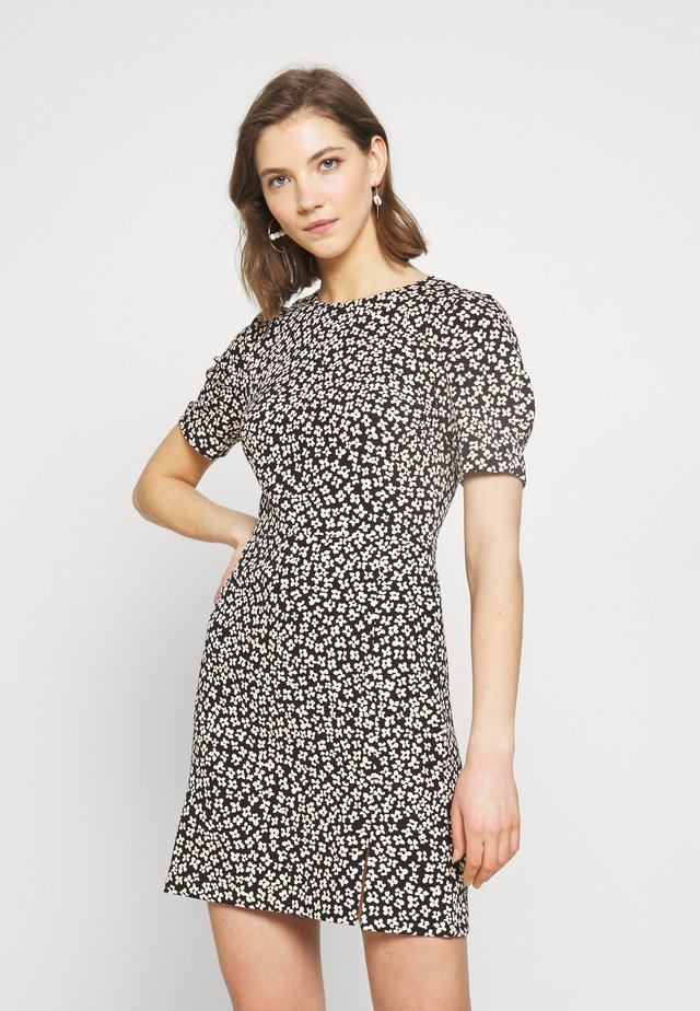 FLORAL SPLIT FRONT CREPE DRESS - Korte jurk - black mix