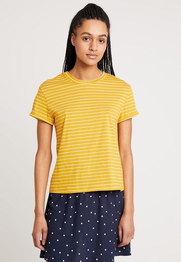 Warehouse - STRIPE CASUAL FIT TEE - Print T-shirt - mustard & white