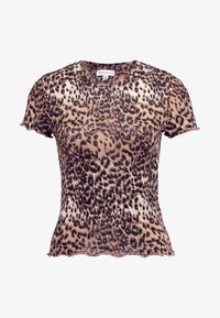 Warehouse - LEOPARD LETTUCE EDGE TEE - T-shirt con stampa - brown - 4