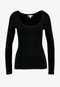 Warehouse - SCOOP FRONT LONG SLEEVE - Långärmad tröja - black - 3