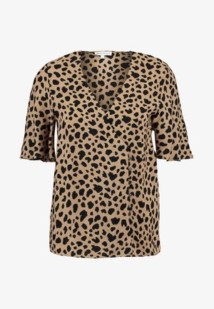 ANIMAL PRINT SIDE BUTTON - Bluser - tan