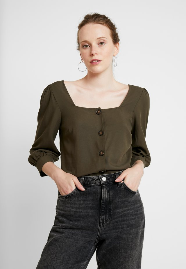 SQUARE NECK BUTTON FRONT - Bluse - khaki