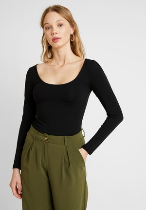PUFF SLEEVE SCOOP FRONT - Longsleeve - black