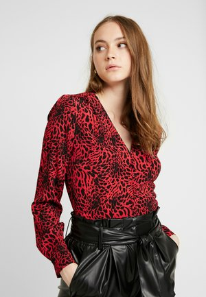 LEOPARD BUTTON THROUGH - Bluse - red