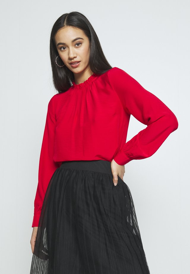 RUFFLE NECK  - Bluser - red