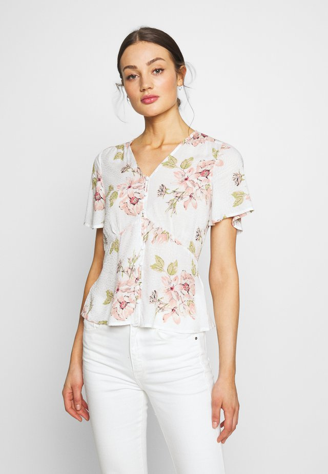 FLORAL BUTTON THROUGH - Blus - ivory