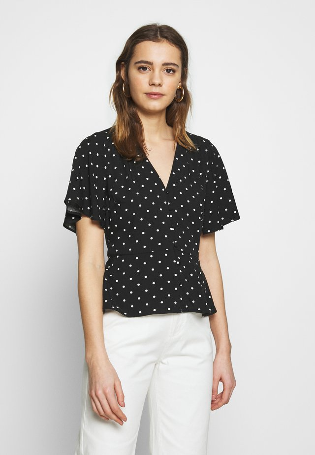SPOT BUTTON THROUGH SLEEVE  - Bluse - black