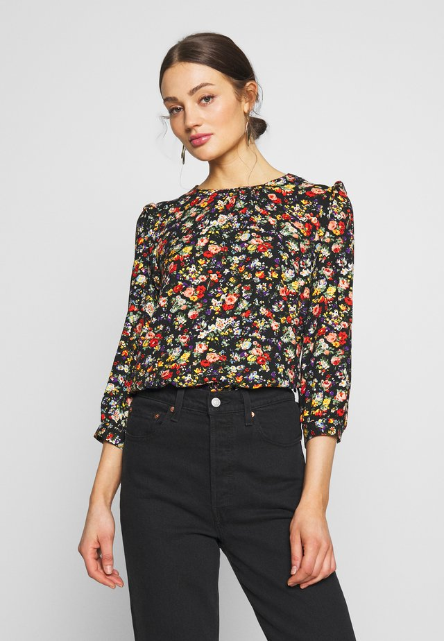 FLORAL GATHERED NECK TOP - Blus - multi
