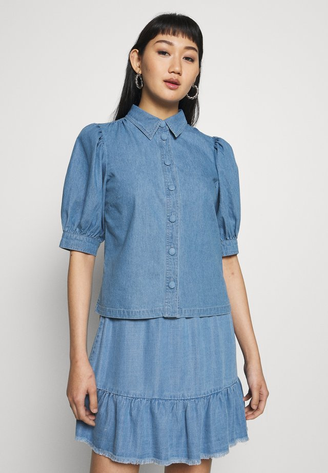 PUFF SLEEVE - Button-down blouse - mid wash