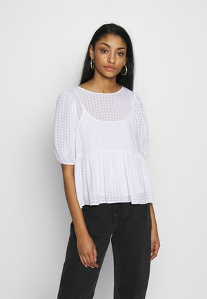 TEXTURED CHECK FRILL FRONT - Blouse - ivory