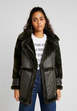 LONGLINE OVERSIZED BIKER - Faux leather jacket - khaki