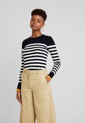 BRETON STRIPE BUTTON CUFF JUMPER - Trui - navy & white