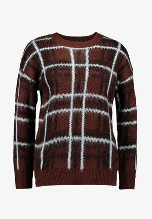 BRUSHED CHECK JUMPER - Pullover - chocolate