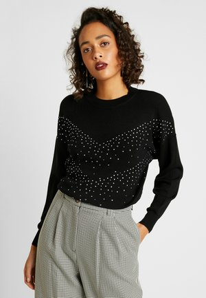 DIAMANTE CHEVRON - Stickad tröja - black
