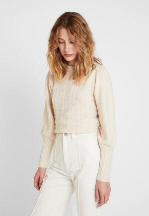 EMBELLISHED HONEYCOMB JUMPER - Stickad tröja - cream