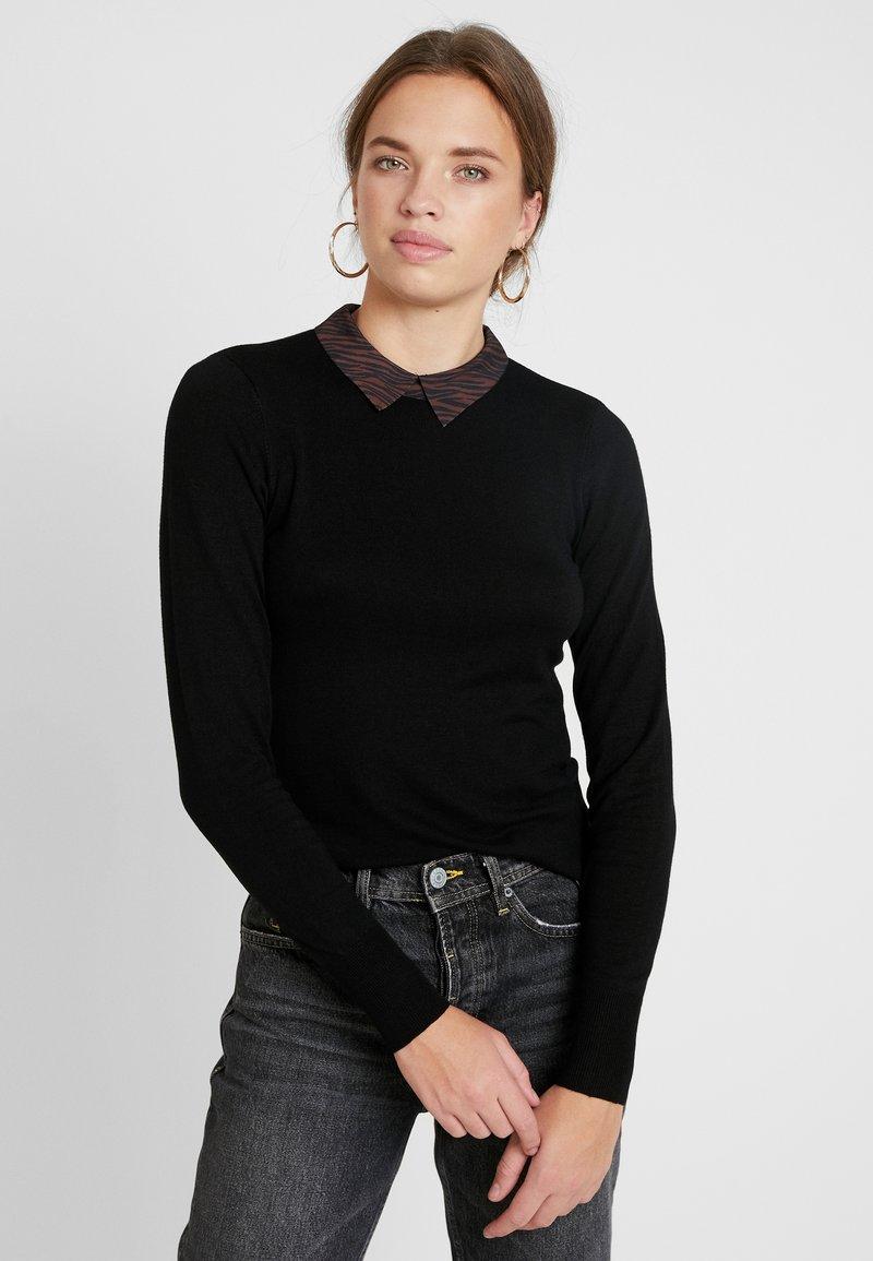 Warehouse - ANIMAL COLLAR JUMPER - Stickad tröja - black