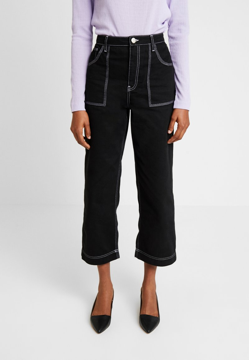 Warehouse - CONTRAST STITCH - Flared jeans - black
