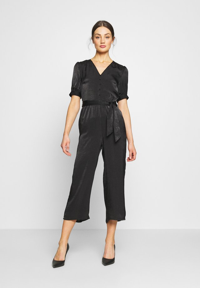 PUFF SLEEVE BUTTON FRONT - Jumpsuit - black