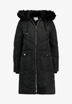 LONG CHEVRON PADDED COAT - Winterjacke - black