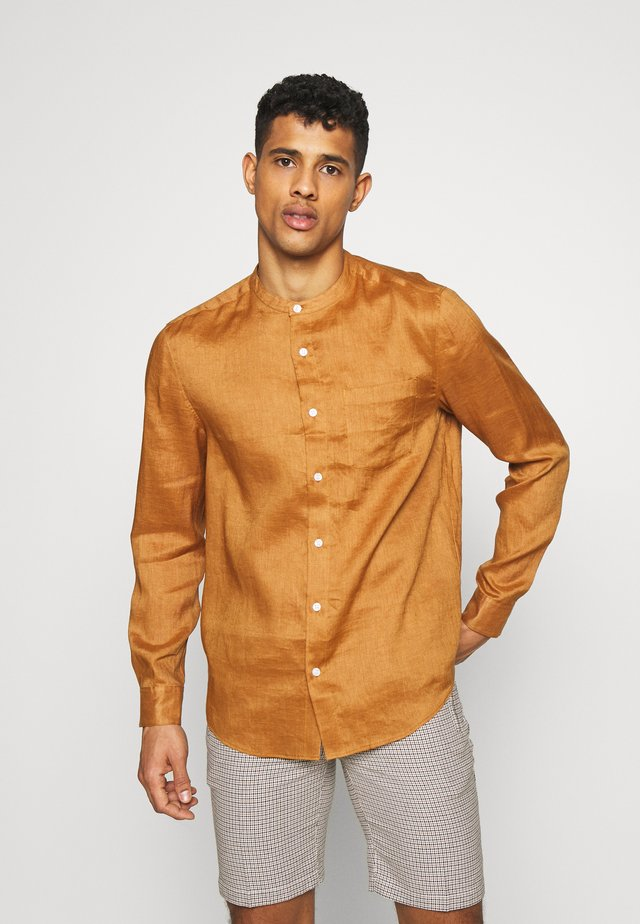GRANDAD COLLAR SHIRT - Shirt - tan