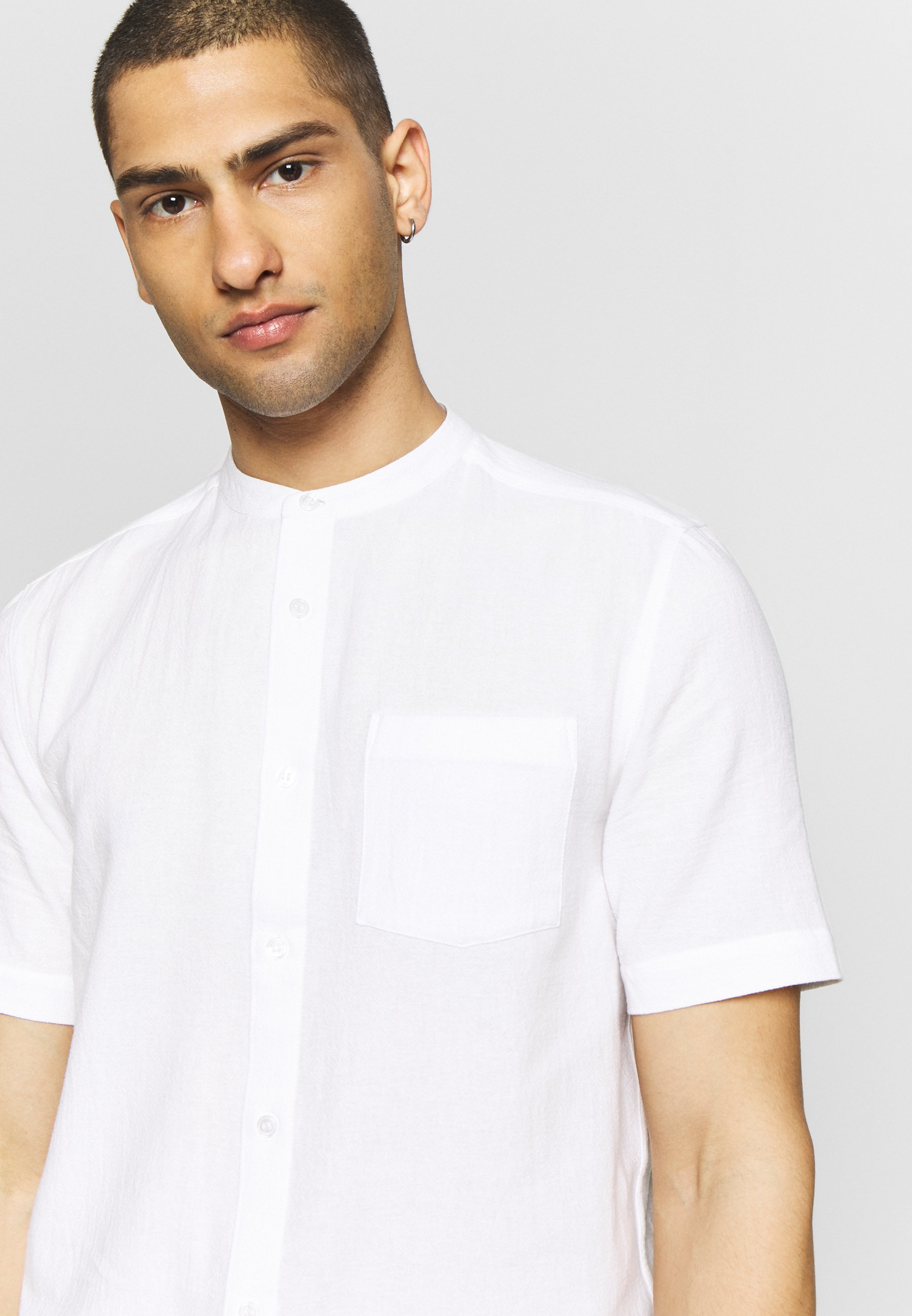 Warehouse GRANDAD COLLAR TEXTURED - Koszula - white