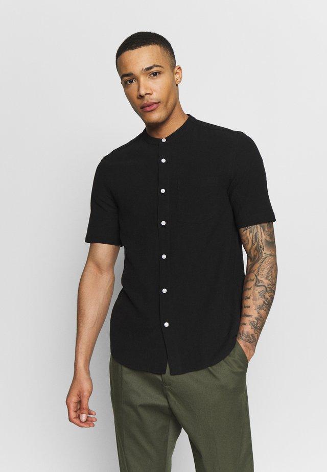 GRANDAD COLLAR TEXTURED - Shirt - black