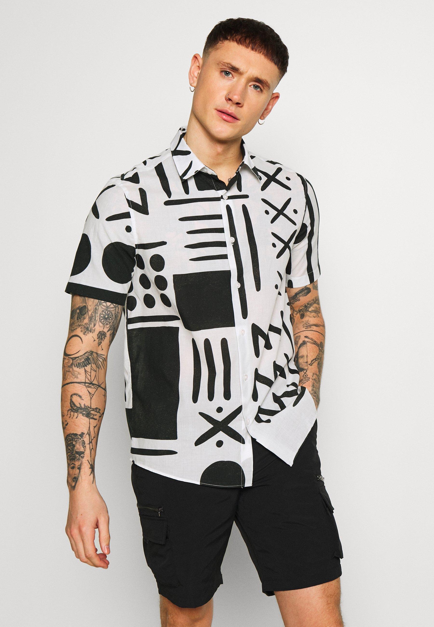 Warehouse BLANKET PRINT - Koszula - white/black