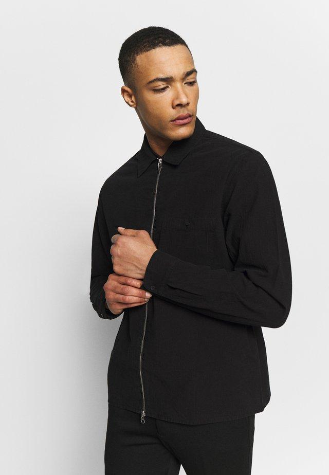 ZIP FRONT TEXTURED - Summer jacket - black