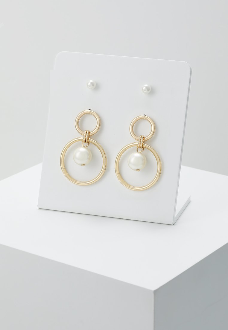 Warehouse - PEARL HOOP DROP EARRING 2 PACK - Earrings - gold-coloured