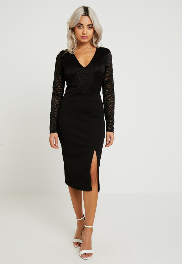 EXCLUSIVE SLEEVE MIDI DRESS - Shift dress - black
