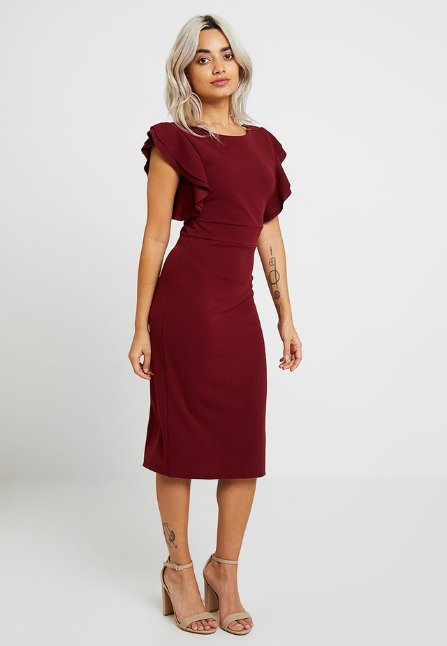 EXCLUSIVE V NECK FRILL SLEEVE MIDI DRESS - Shift dress - magenta