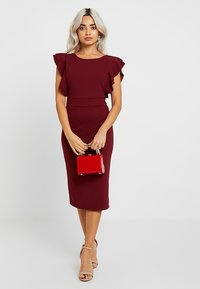 WAL G PETITE - EXCLUSIVE V NECK FRILL SLEEVE MIDI DRESS - Kotelomekko - magenta - 2