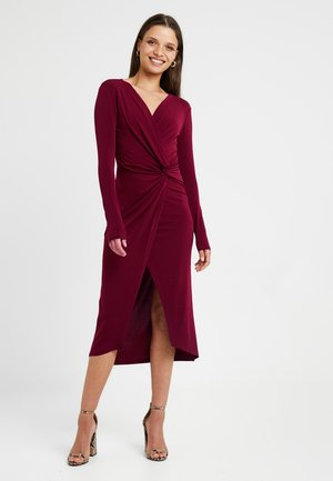 EXCLUSIVE LONG SLEEVE KNOT DRESS - Pouzdrové šaty - bordeaux