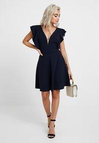 WAL G PETITE - EXCLUSIVE V NECK FRILL SLEEVE MINI DRESS - Jersey dress - navy - 2