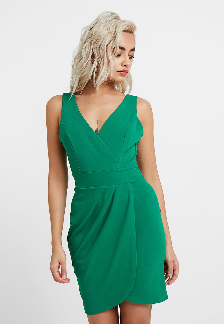 WAL G PETITE - EXCLUSIVE WRAP FRONT DRESS - Jerseykjoler - green