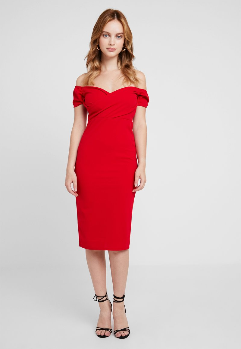 WAL G PETITE - EXCLUSIVE BARDOT MIDI - Shift dress - red