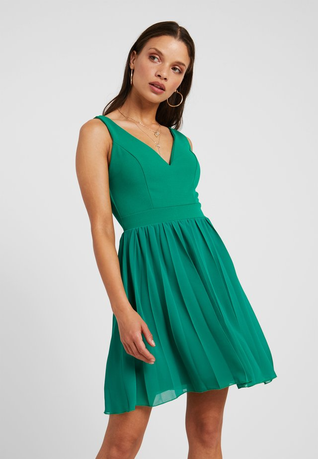 V NECK BOTTOM MINI DRESS - Day dress - bright green