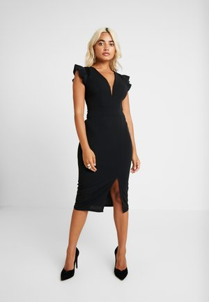 RUFFLE MIDI - Robe fourreau - black