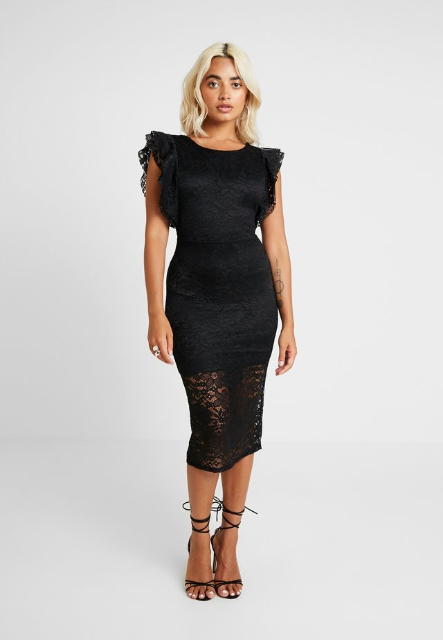 RUFFLE MIDI - Cocktail dress / Party dress - black