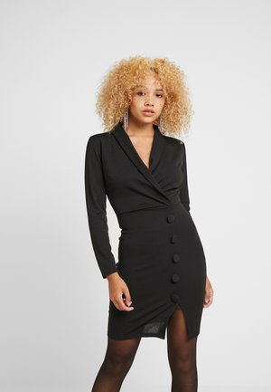 WRAP PLUNGE DRESS - Etui-jurk - black