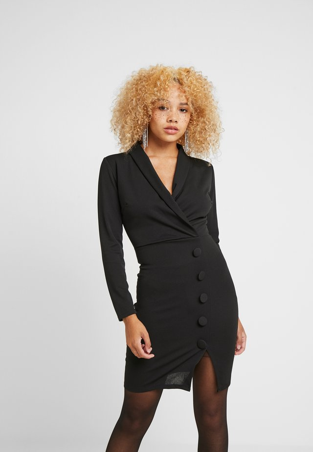 WRAP PLUNGE DRESS - Shift dress - black