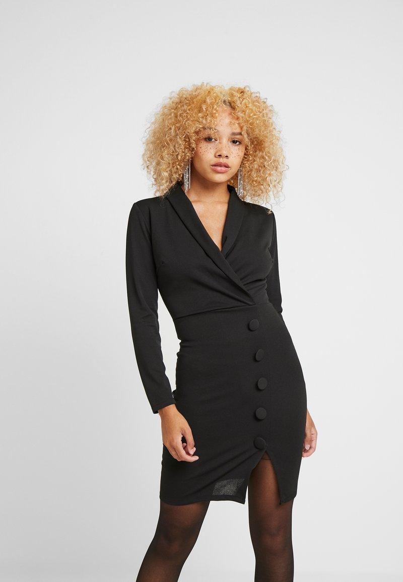 WAL G PETITE - WRAP PLUNGE DRESS - Etui-jurk - black