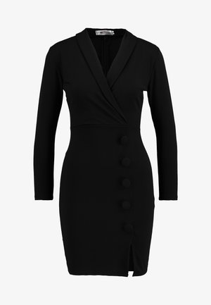 WRAP PLUNGE DRESS - Robe fourreau - black