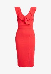 WAL G PETITE - RUFFLE NECKLINE DRESS - Koktejlové šaty/ šaty na párty - coral - 5