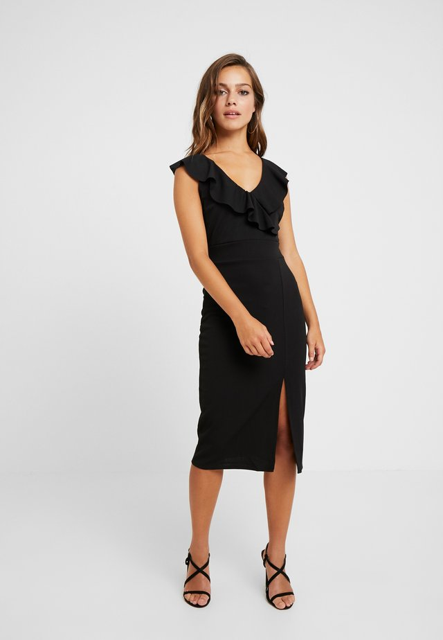 RUFFLE NECKLINE DRESS - Sukienka koktajlowa - black