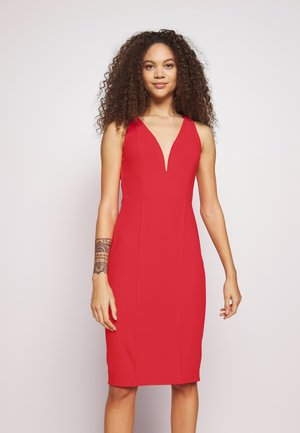 V NECK MIDI DRESS - Denní šaty - red
